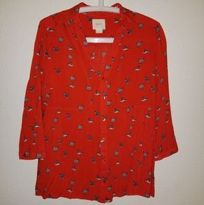 Like new! Maeve Fox print button up